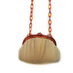 Whiting and Davis vintage handbag/w lucite handles